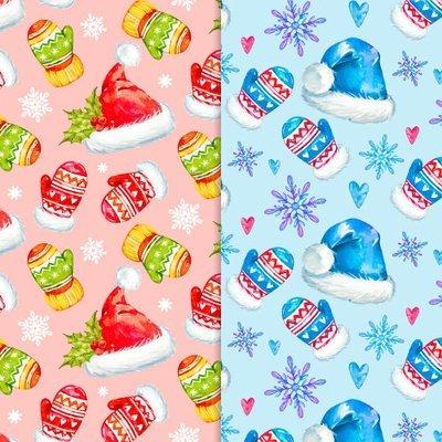 [設計圖樣] 聖誕 水彩 手套 帽子 布花 Watercolor Christmas pattern