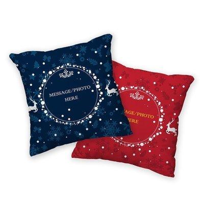 [設計圖樣] 聖誕 麋鹿 圓框 可拆式 抱枕 Elk round frame pillow