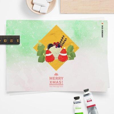 [設計圖樣][寒冬送暖-草莓雪人聖代] 聖誕 插畫 全品項 適用