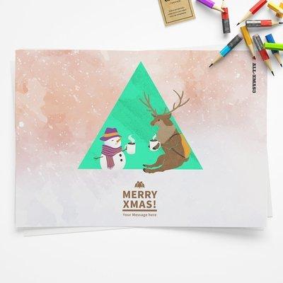 [設計圖樣][寒冬送暖-和馴鹿先生喝可可] 聖誕 插畫 全品項 適用