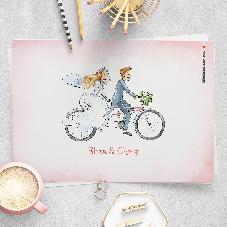 [設計圖樣][婚紗雙人腳踏車] 婚禮 插畫 全品項 適用