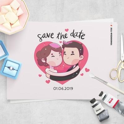 [設計圖樣][雙人與愛心插畫] 婚禮 插畫 全品項 適用