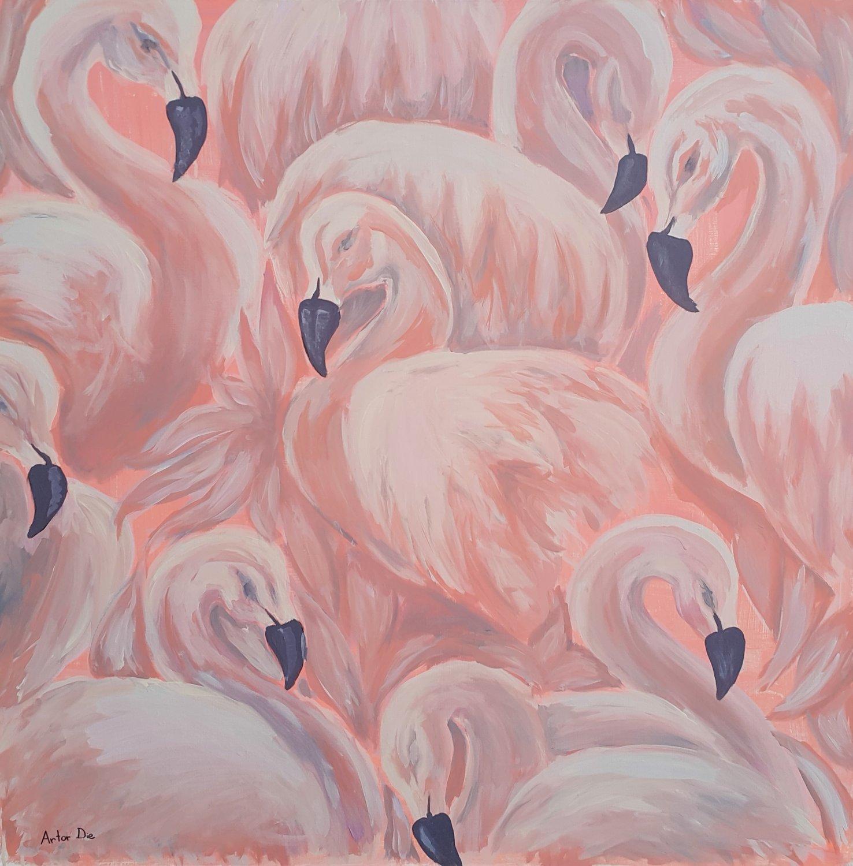 Artor Die - Flamingi   100 x 100