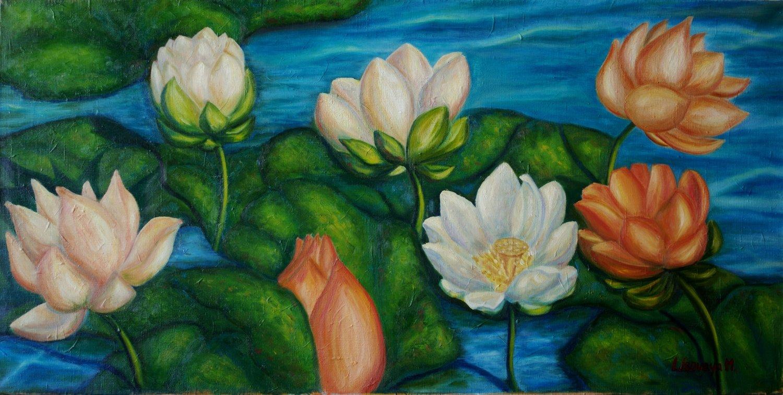Marina Lisovaya - Lotuses | 100 x 50