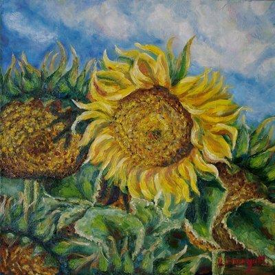 Marina Lisovaya - Sunflowers | 50 x 50