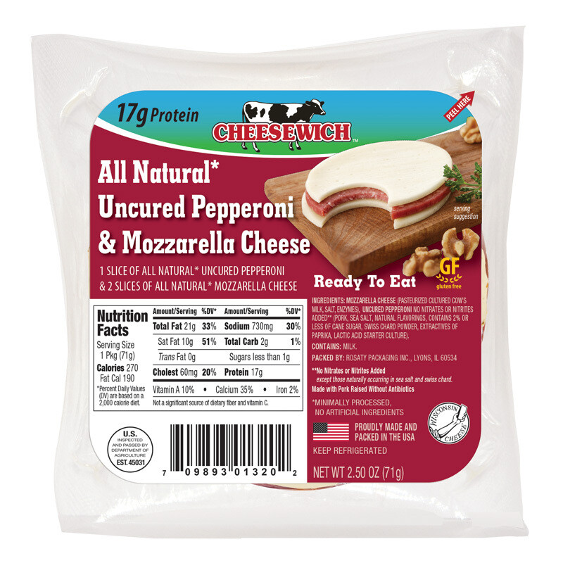 All Natural Uncured Pepperoni & Mozzarella Cheese (16pk)