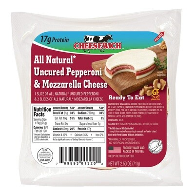 All Natural Uncured Pepperoni & Mozzarella Cheese (16pk)