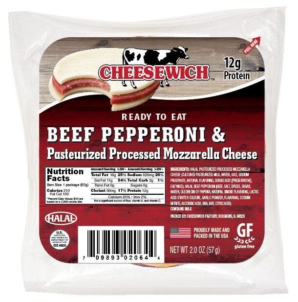 Beef Pepperoni with Mozzerella Cheese (16pk) No Refrigeration