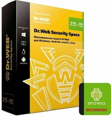 Антивирус DR.WEB Security Space 2 ПК 2 года BOX [bhw-b-24m-2-a3]