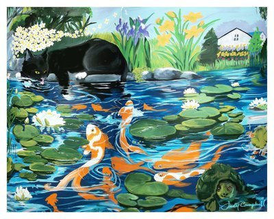 """Cats at the Pond ~ limited edition giclée print 11""""x14"""""""