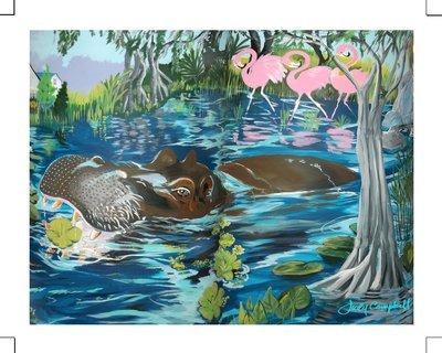 "Happy Lu the Hippo! ~ limited edition giclée print 11""x14"""