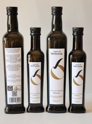 500 ml Pagos de Vettonia. Aceite de Oliva Virgen Extra. (Manzanilla Cacereña. Las Arribes del Duero)