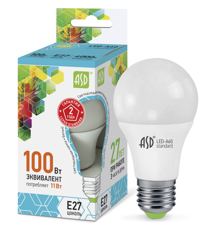 Лампа светодиодная 11ВТ 230В А60 Е27 АСД