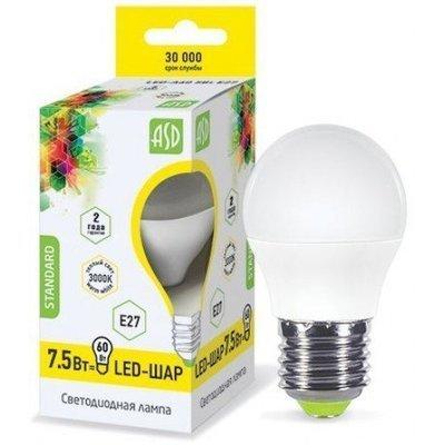 """Лампа светодиодная """"шар"""" 7.5ВТ 230В Е27"""