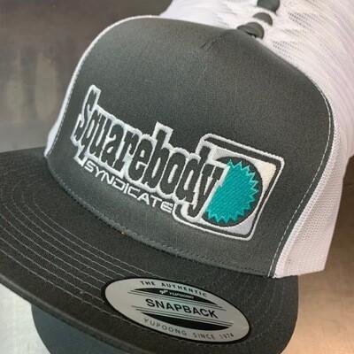 GRAY/WHITE TEAL SNAPBACK RETRO TRUCKER MESH SBS LOGO #4 HAT