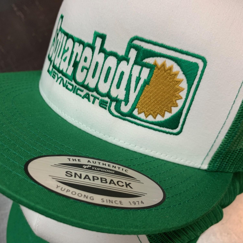 RETRO KELLY GREEN WHITE GREEN SNAPBACK TRUCKER MESH SBS LOGO #4 HAT