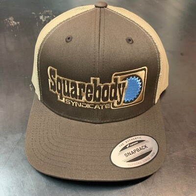 BLUE STAR SNAPBACK TRUCKER MESH SBS SYNDICATE 4 LOGO BROWN/KHAKI HAT