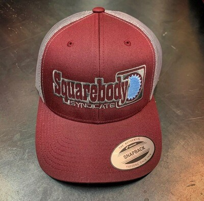 NEW MAROON, GRAY AND LIGHT BLUE SNAPBACK RETRO TRUCKER MESH SBS LOGO #4 HAT