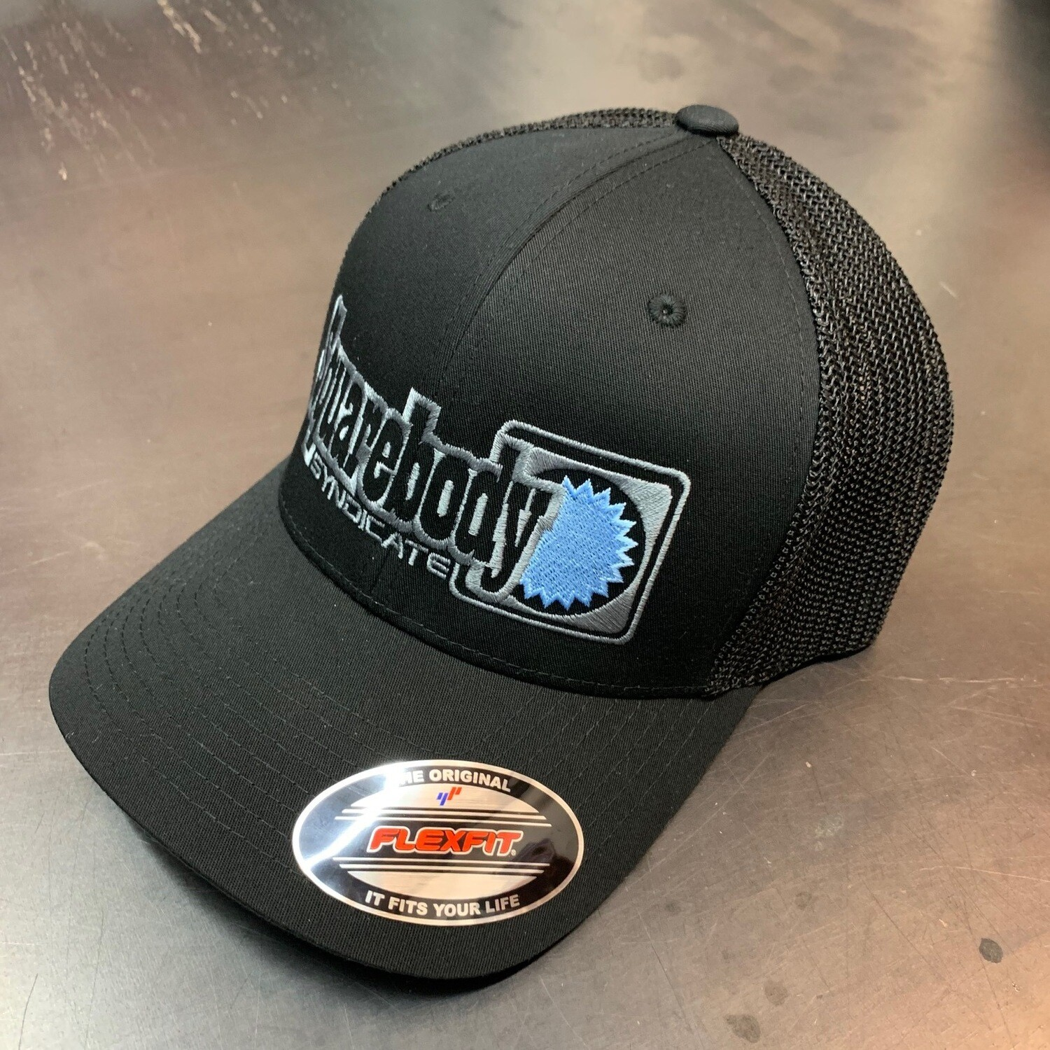 BLACK MESH FLEXFIT WITH GRAY AND LIGHT BLUE SBS SYNDICATE LOGO #4 HAT