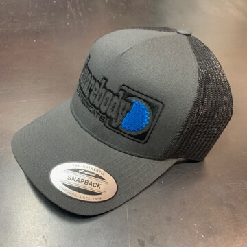 CURVED GRAY BLACK SNAPBACK RETRO TRUCKER MESH SBS LOGO #4 HAT