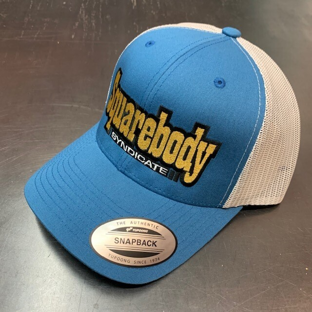 CURVED STEEL BLUE SNAPBACK RETRO TRUCKER MESH SBS LOGO #2 HAT