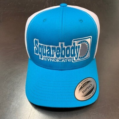 CURVED LIGHT BLUE SNAPBACK RETRO TRUCKER MESH SBS LOGO #4 HAT