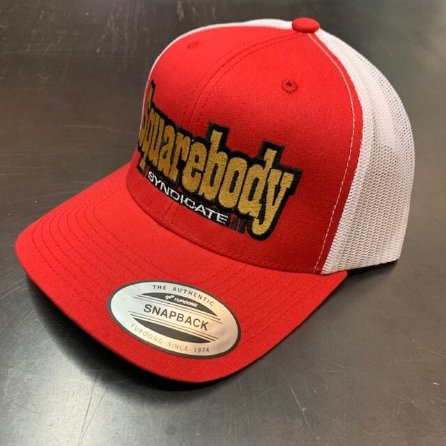 CURVED RED AND WHITE SNAPBACK RETRO TRUCKER MESH SBS LOGO #2 HAT