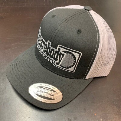 CURVED GRAY AND WHITE WITH SILVER STAR SNAPBACK RETRO TRUCKER MESH SBS LOGO #4 HAT