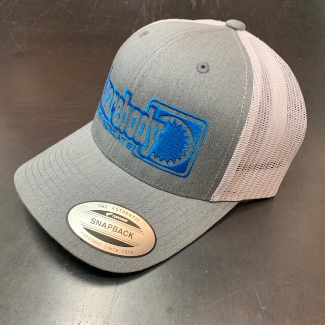 CURVED GRAY HEATHER AND WHITE WITH BLUE STAR SNAPBACK RETRO TRUCKER MESH SBS LOGO #4 HAT