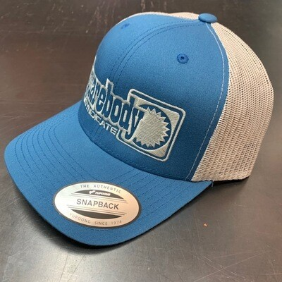 STEEL BLUE AND LIGHT GRAY SNAPBACK RETRO TRUCKER MESH WITH SBS LOGO #4 HAT
