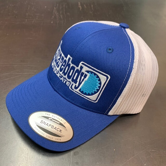 CURVED ROYAL AND WHITE SNAPBACK RETRO TRUCKER MESH WITH SBS LOGO #4 HAT