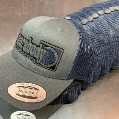 GRAY AND NAVY SNAPBACK RETRO TRUCKER MESH WITH SBS LOGO #4 HAT