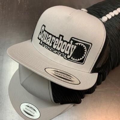 SILVER AND BLACK SNAPBACK RETRO TRUCKER MESH BLACK #4 LOGO HAT