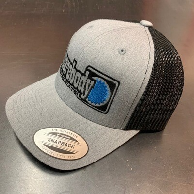 CURVED GRAY HEATHER AND BLACK WITH BLUE STAR SNAPBACK RETRO TRUCKER MESH SBS LOGO #4 HAT