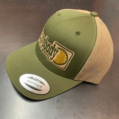 GOLD STAR SNAPBACK TRUCKER MESH SBS SYNDICATE 4 LOGO GREEN/KHAKI HAT