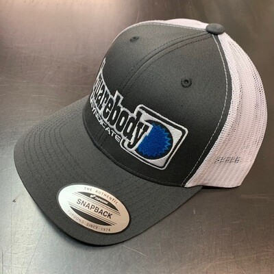 CURVED GRAY AND WHITE WITH BLUE STAR SNAPBACK RETRO TRUCKER MESH SBS LOGO #4 HAT