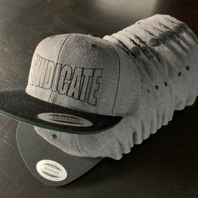 LIMITED DARK HEATHER GRAY AND BLACK  SNAPBACK SBS SYNDICATE HAT
