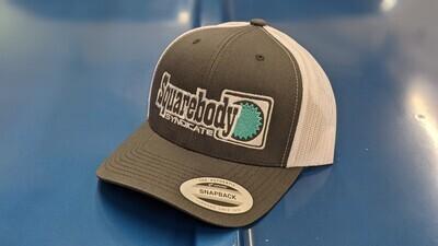 CURVED GRAY/WHITE TEAL SNAPBACK RETRO TRUCKER MESH SBS LOGO #4 HAT