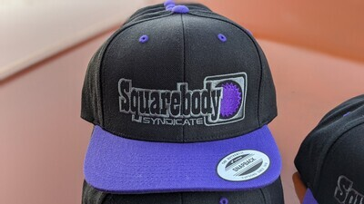 VERY LIMITED QUANTITY! CURVED PURPLE AND BLACK WITH PURPLE STAR SNAPBACK RETRO TRUCKER MESH SBS LOGO #4 HAT