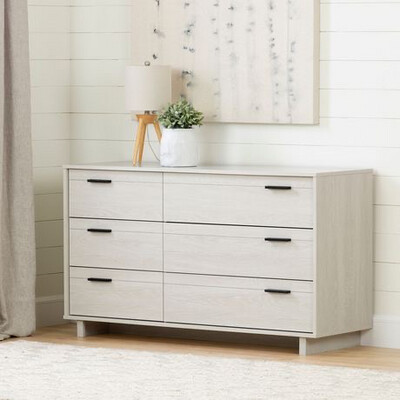 South Shore Fynn 6-Drawer Double Dresser & Two Night Stands