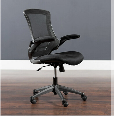 Flash Furniture Mid-Back Black Leather & Mesh Swivel Task Chair with Arms