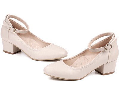 Robasiom Low Heel Chunky Heels Dress Shoes for Women, Comfortable Ankle Strap.