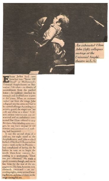 John, Elton / An Exhausted Elton John Collapses Onstage | Magazine Article with Photo (1979)