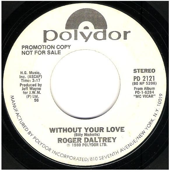 "Daltrey, Roger / Without Your Love | Polydor PD-2121 | Single, 7"" Vinyl 