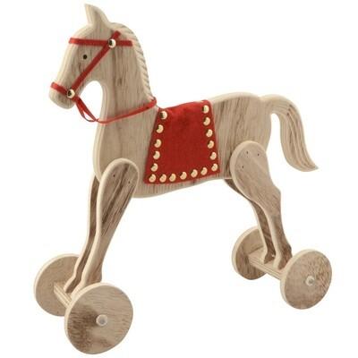 CHAMP Deko Holzpferd auf Rädern 26cm