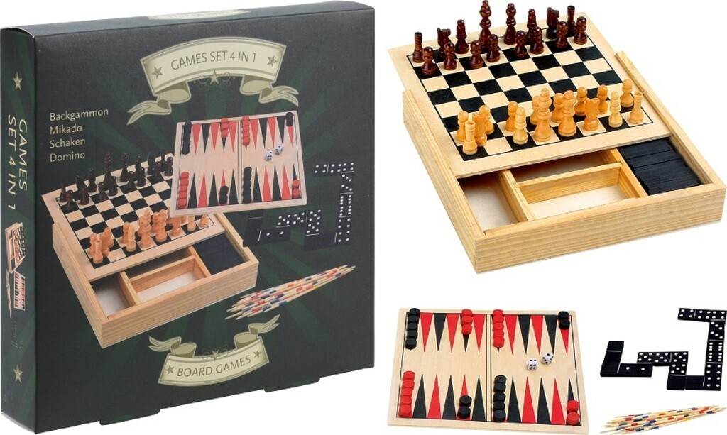 Free and Easy 4-in-1-Reisespiel, Holz