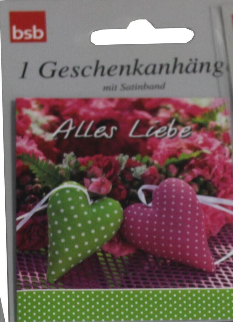 """bsb Geschenkanhänger 1er """"Alles Liebe, 2 Herzen"""""""