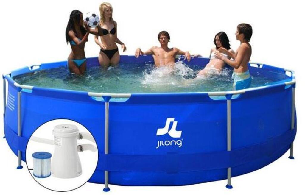 Jilong Runder Pool mit Stahlrahmen und Filterpumpe