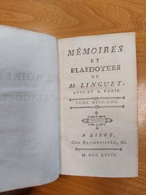 Livre 1786 Memoires et plaidoyers de M Linguet