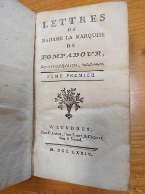 Livre Lettres de la Marquise de Pompadour 1774